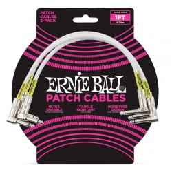 ERNIEBALL CABLE INTERLINK PVC JACK-JACK AA Blanco  0,30m (PACK de 3)