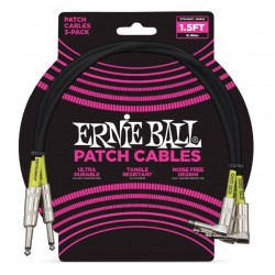 ERNIEBALL CABLE INTERLINK PVC JACK-JACK SA Negro  0,30m (PACK de 3)