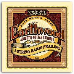 ERNIEBALL Juego de Banjo 5 Cuerdas Earthwood Bronze Frailing 10-24