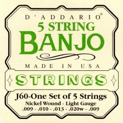 DADDARIO J60 STAINLESS STEEL LIGHT [10-20] JUEGO BANJO 5 CUERDAS