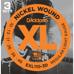 DADDARIO EXL110 - XL REGULAR LIGHT (PACK 3 JUEGOS) JUEGO ELECTRICA
