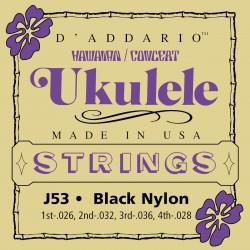 DADDARIO J53 HAWAIIAN BLACK NYLON JUEGO UKELELE