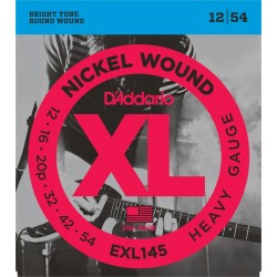 DADDARIO EXL145 NICKEL WOUND, HEAVY, PLAIN 3RD [12-54] JUEGO ELECTRICA