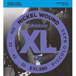 DADDARIO EXL280 NICKEL WOUND PICCOLO BASS, LONG SCALE [20-52] JUEGO BAJO