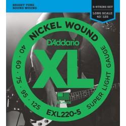 DADDARIO EXL220-5 5-STRING BASS, SUPER LIGHT, LONG SCALE [40-125]