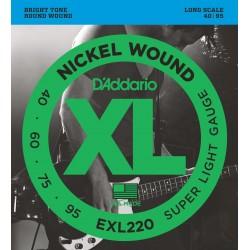 DADDARIO EXL220 XL NICKEL WOUND SUPER LIGHT [40-95] JUEGO BAJO EXL-220