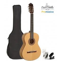 Pack Guitarra Flamenca Paco Castillo 211F + Funda + Afinador