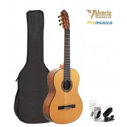 Pack Valencia VC564 Guitarra Clásica con funda y afinador