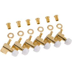 Fender Deluxe Cast/Sealed Guitar Tuning Machines with Pearl Buttons (Set of 6), Gold