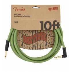 Fender 10' Angled Festival Instrument Cable, Pure Hemp, Green